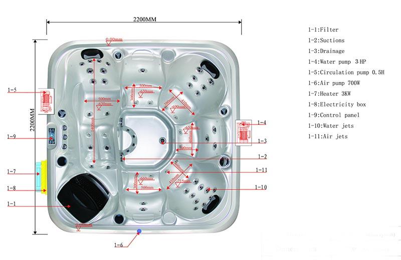 Dimension & Equipment Layout of Ajax Spa Model