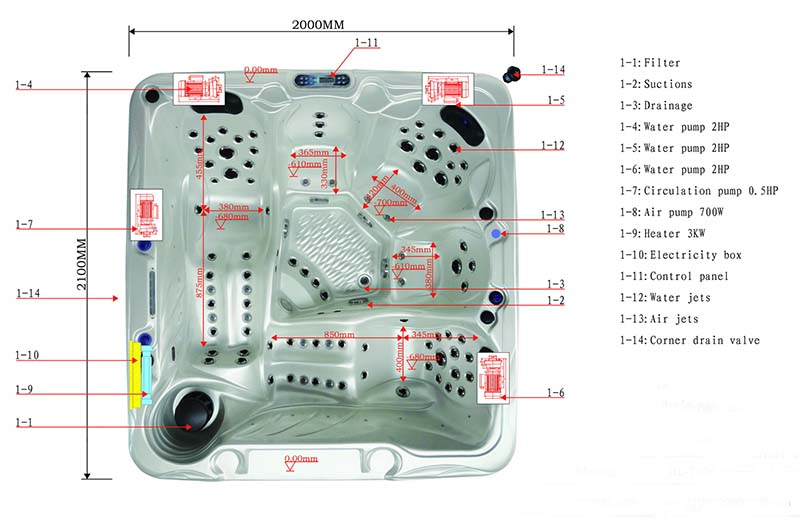 Dimension & Equipment Layout of Hades Spa Model