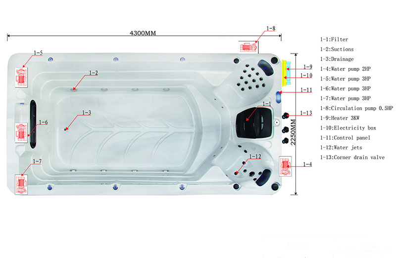Dimension & Equipment Layout of Hecate Spa Model
