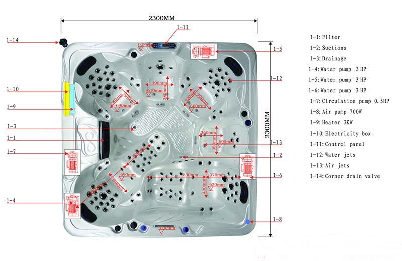 Dimension & Equipment Layout of Hesita Spa Model