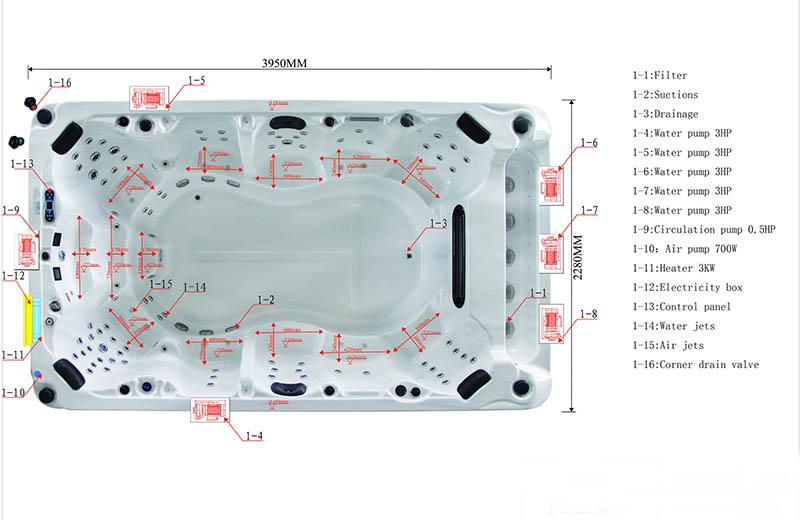 Dimension & Equipment Layout of Mermaid Spa Model
