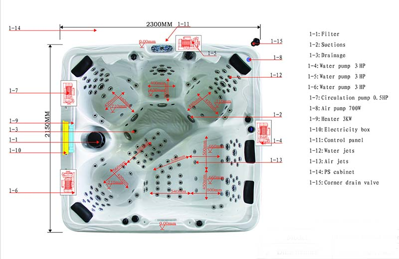 Dimension & Equipment Layout of Paris Spa Model